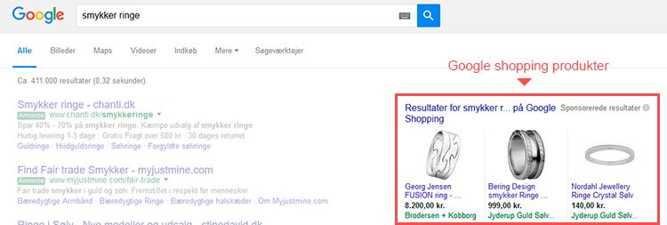 eks. på google shopping produkter